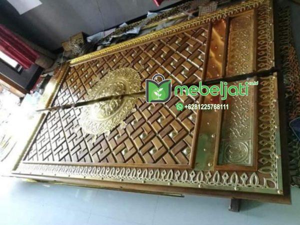 Jual Pintu Masjid Nabawi Ukir Kuningan Kayu Jati