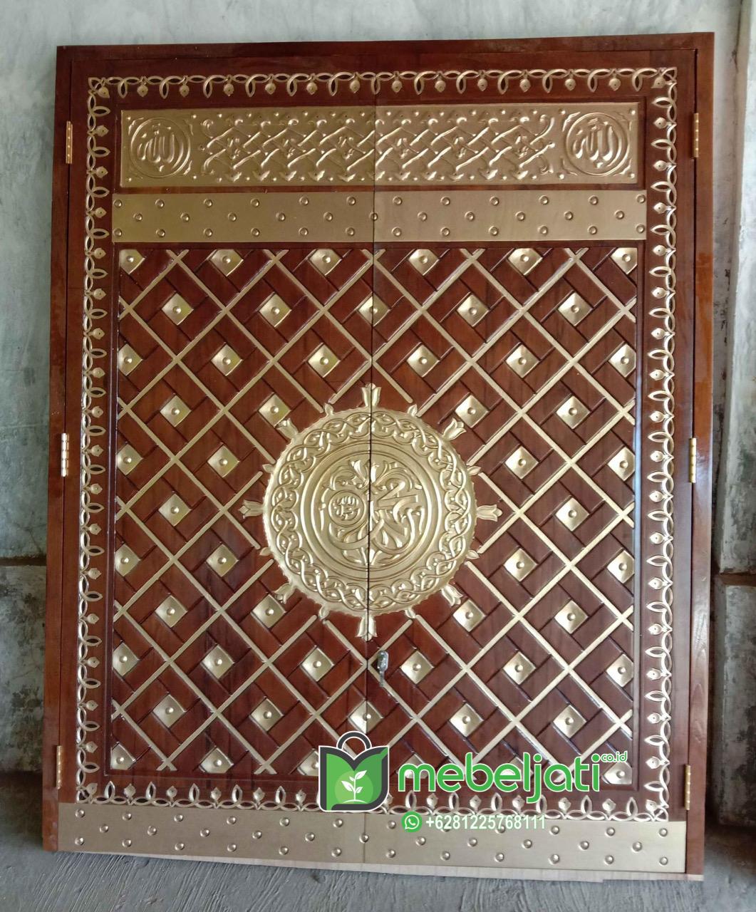 Replika Pintu Nabawi Ukiran Emas Cat Tanpa Kuningan